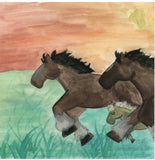 Colorful illustrations by Roz Fichtner of the thundering ranch horses and little Thunder. Part of the Rusty, the Ranch Horse series of values and lessons.