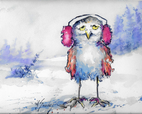 """ Goofy Owls "" Greeting Cards Winter and Spring"