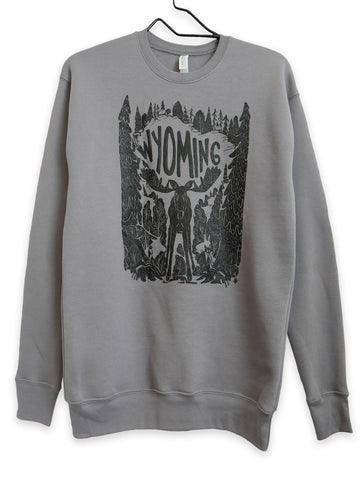 Long sleeve, grey sweat shirt of sponge fleece. Out of the Woods Graphic Moose original design by Favian Hernandez