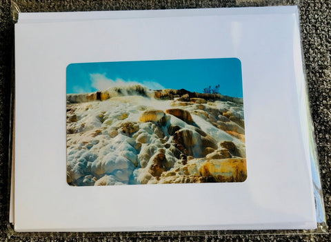Handmade white kraft card collection of destinations in Yellowstone National Park