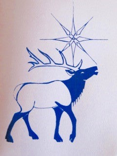 Silk Screen Holiday Card of Elk under a Star. Variety of four cards with envelopes.  Wyoming Artist