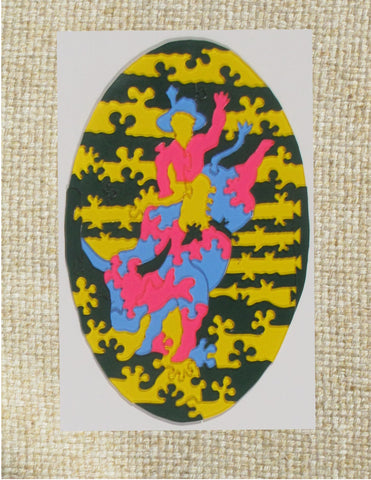 "Bull Rider Puzzle Ted Edeen, Puzzle Maker Multi colored acrylic pieces Total puzzle size 4"" x 6"" x 1/8"" Blue, green, orange, yellow, puzzle pieces 2 sided 2D pieces In nice clear case Please note, the puzzle is custom designed by the Artist , with a slight variation between each piece"