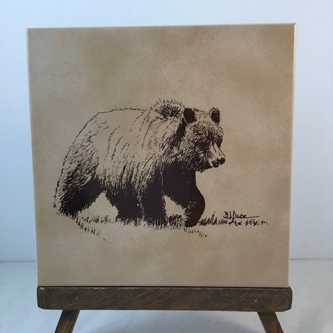 Grizzly Bear pen and ink drawing by BJ Durr, hand painted by ElizabethRulli on various floor tile trivet. Easel not included.