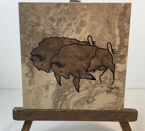 Double Bison trivet, silk screen printed. Protective felt on back