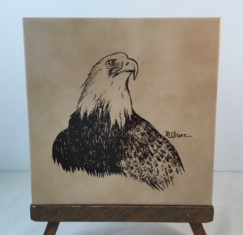 Original pencil drawing by Artist BJ Durr, silk screened on floor tile trivet, various backgrounds