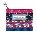 Good Karma Elephant Zippered Coin Purse or Travel Cosmetic Bag