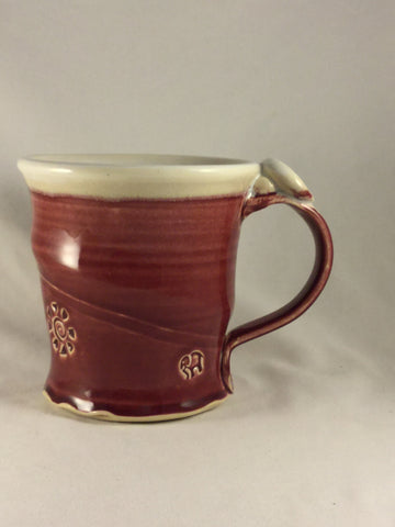 BS-187 Pottery Mug Red and White Bonnie Schlesselman