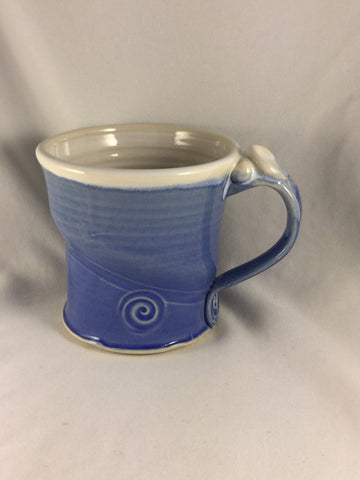 BS-187 Pottery Mug Blue and White Bonnie Schlesselman