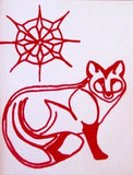 Red Fox under a Red Star Holiday Silk Screened Card. One of a varietyof 4 cards with envelopes. Wyoming Artist