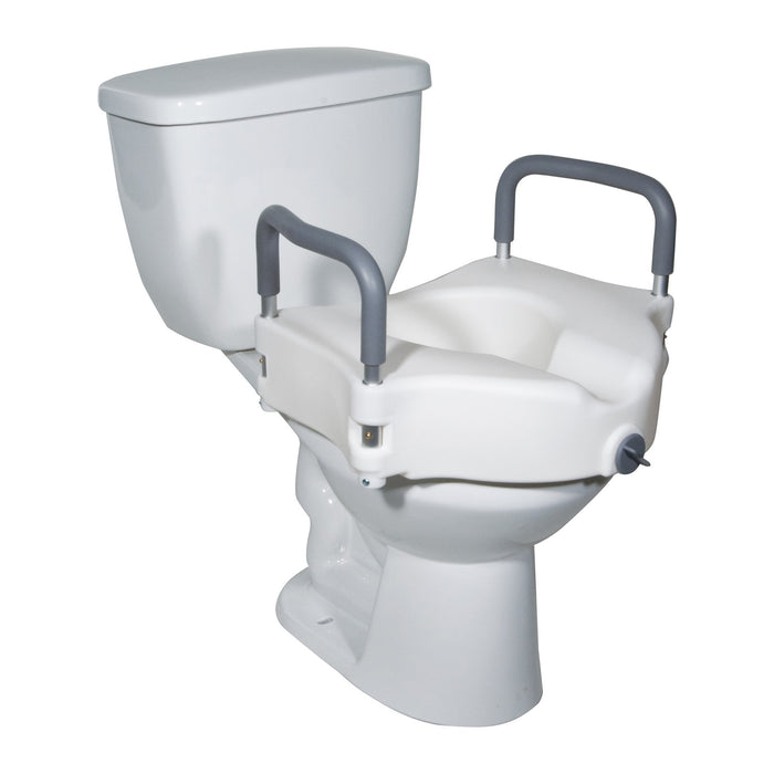 2-in-1 Locking Raised Toilet Seat with Tool-free Removable Arms