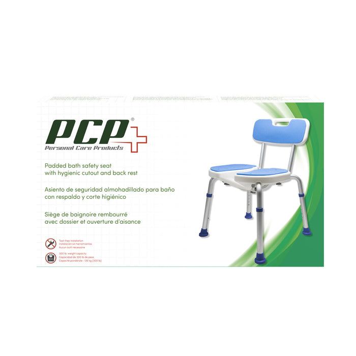 Padded Bath Safety Seat with Hygienic Cutout and Back Rest