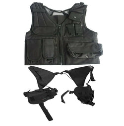 Swiss Arms Tactical Black Airsoft Vest with double shoulder pistol holsters