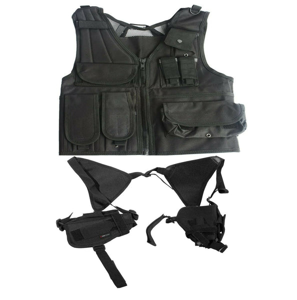 Swiss Arms Tactical Black Airsoft Vest with double shoulder pistol holsters - Gas Blowback Armory
