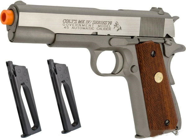 Colt Licensed CO2 blowback M1911 A1 Full Metal Airsoft Pistol w 2 Magazines GBB