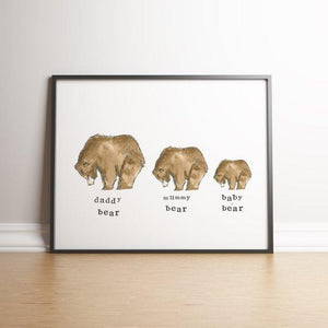 Personalised Grizzly Bear Family