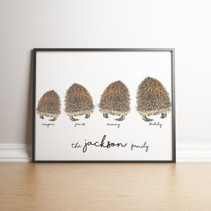 Personalised Hedgehog Family Print
