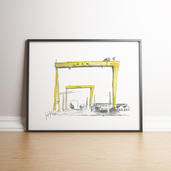 Framed watercolour painting of the yellow Harland and Wolff cranes in Belfast