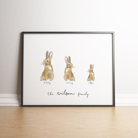 Personalised Rabbit Family Print