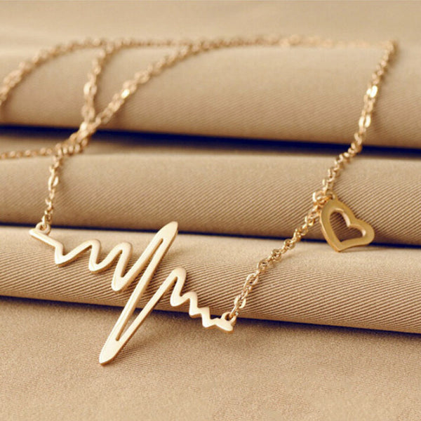 , beyounique fashions, beyounique fashions, Steel 18K Gold Plated ECG Heart Necklace - beyounique fashions