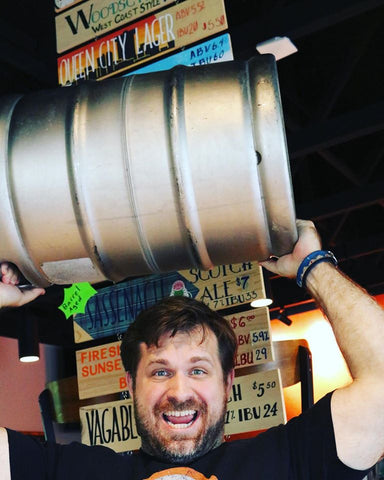 Jake Duensing with keg at Great Escape Beer Works Springfield Missouri