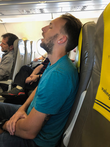 Jeremy asleep on plane