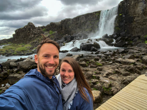Reagan and Jeremy at Icelandic Waterfall