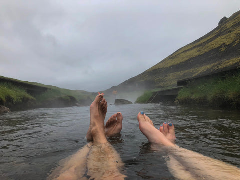 Enjoying Reykjadalur Hot Springs