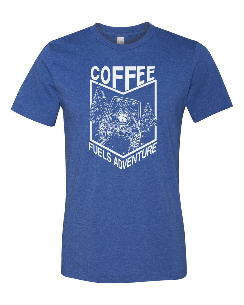 Coffee Fuels Adventure Tee - Heather True Royal