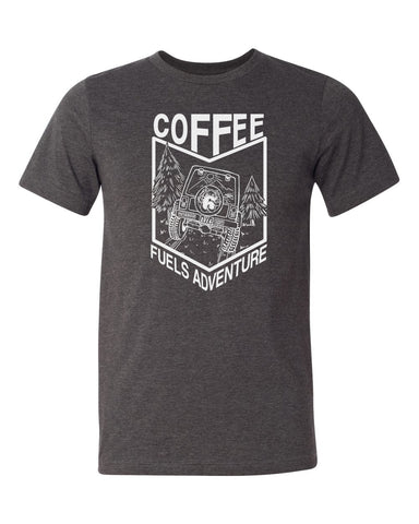 Coffee Fuels Adventure Tee - Dark Grey Heather