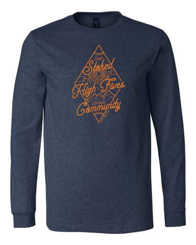 Get Stoked Give High Fives Grow Community Long Sleeve - Heather Navy