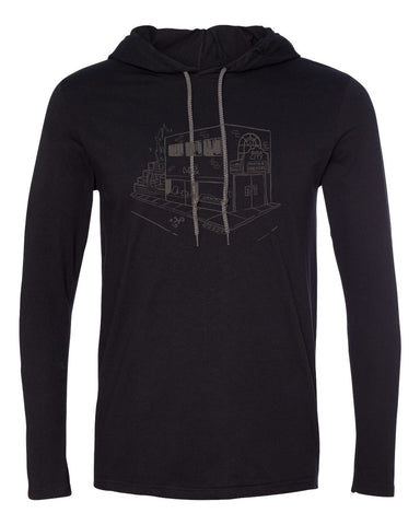 Queen City Coffee Hooded Long Sleeve - Black/Dark Grey