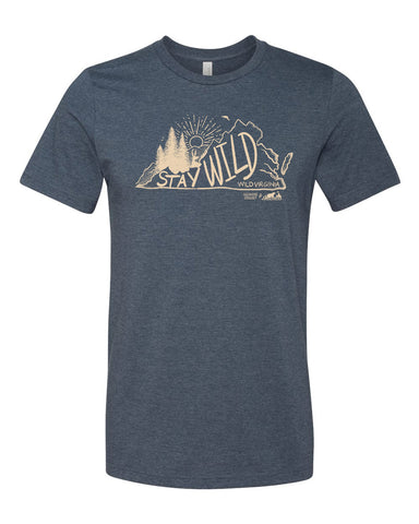 Stay Wild Virginia Tee - Heather Navy