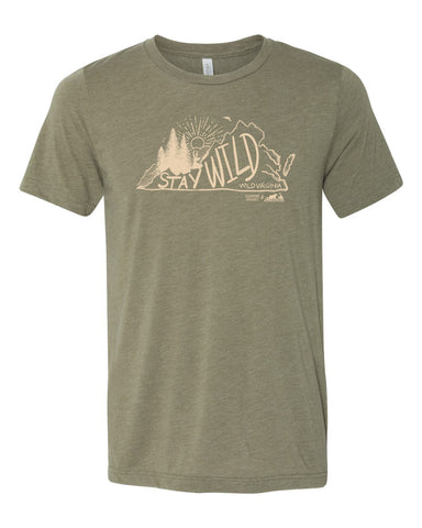 Stay Wild Virginia Tee - Heather Olive