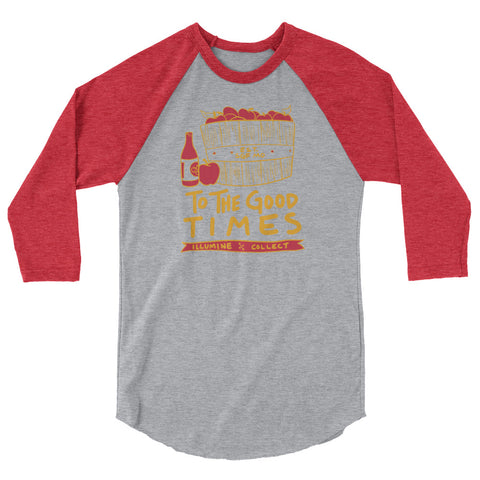 Good Times Baseball Tee - Heather Grey/Heather Red