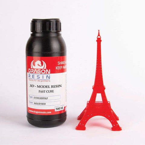 Dragon Resin - 3D Model Resin - Rouge Solide (Solid Red) - 0,5 L, resines UV, Dragon Resin
