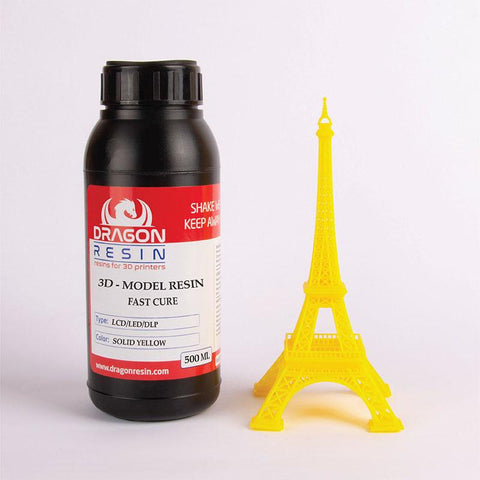 Dragon Resin - 3D Model Resin - Jaune Solide (Solid Yellow) - 0,5 L, resines UV, Dragon Resin
