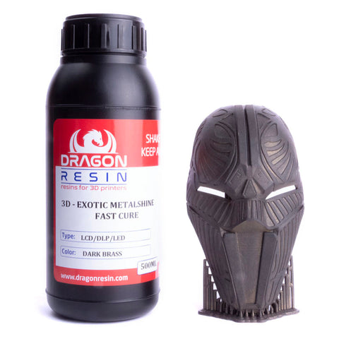 Dragon Resin - 3D Exotic Metalshine - Laiton Foncé (Dark Brass) - 0,5 L, resines UV, Dragon Resin