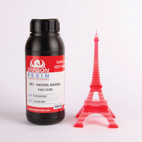 Dragon Resin - 3D Model Resin - Rouge Transparent (Clear Red) - 0,5 L, resines UV, Dragon Resin