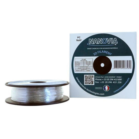 Filament PC V0 UL-94 Natif POLYCARBONATE ininflammable Nanovia 500g Transparent 1,75mm, FILAMENTS SPECIAUX, NANOVIA