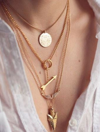 Multi-layer Arrow Design Necklace Free