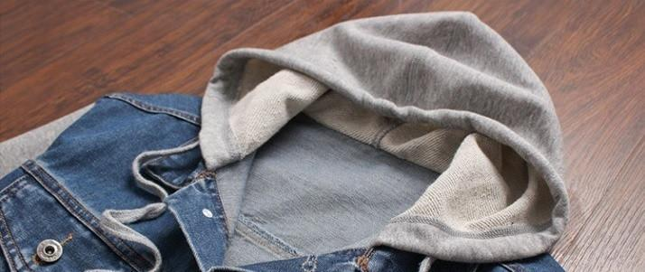 Denim Patched Casual Hooded Jacket - Barber Clips