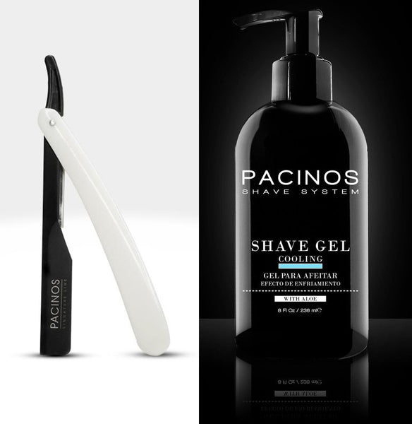 Pacinos Cooling Shave Gel & Pacinos Black/White Series Straight Razor - Barber Clips