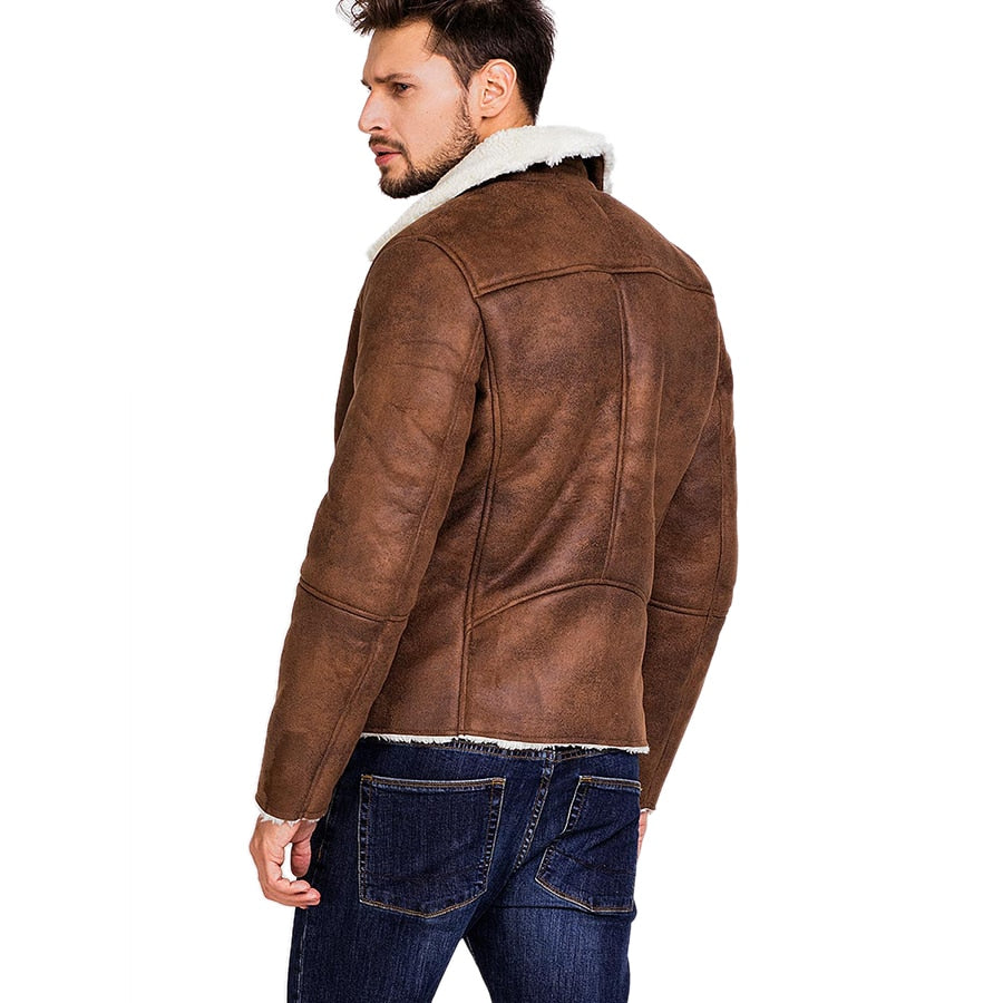 The Pilot - Faux Suede Leather Jacket - Barber Clips