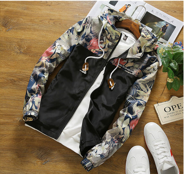 Urban Contrast Floral Windbreaker - Barber Clips