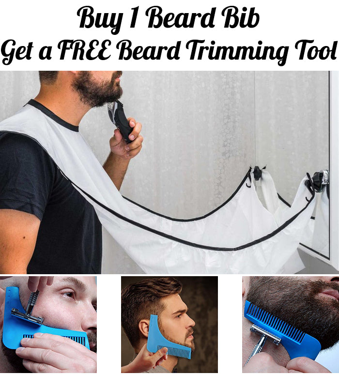Beard Bib + FREE Beard Trimming Tool - Barber Clips