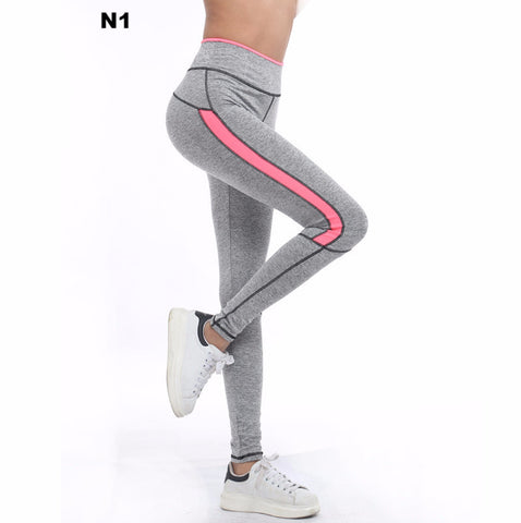 WOMEN Running Sports Fluo Striped LEGGINGS