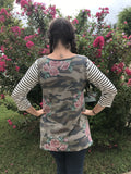 Camo and Floral 3/4 sleeve back