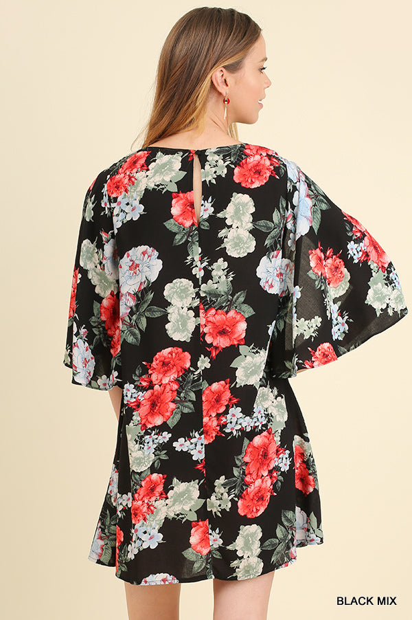 Black and floral criss cross neckline  dress back