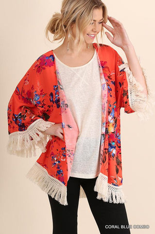 Sleeveless Denim and Fringe Kimono