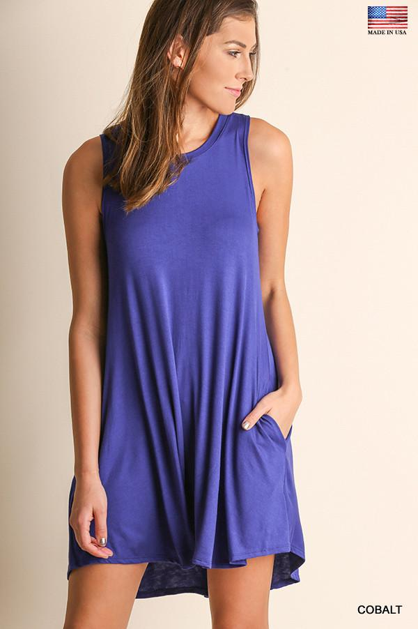 Sleeveless Cobalt Round-Neck Dress with Pockets